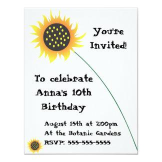 Convite do aniversário da ilustração do girassol