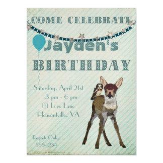 Convite do aniversário da jovem corça & da coruja convite 16.51 x 22.22cm