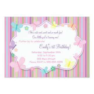 Convite do aniversário da menina das borboletas