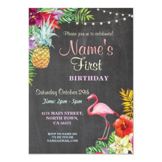 Convite do aniversário da menina do flamingo Aloha