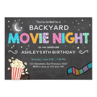 Convite do aniversário da noite de cinema sob as