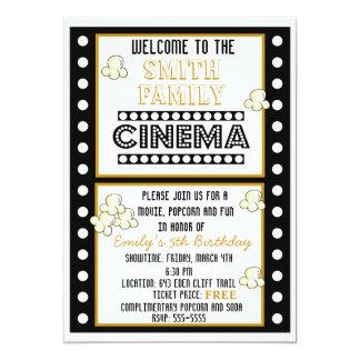 Convite do aniversário da pipoca da tira do filme convite 12.7 x 17.78cm