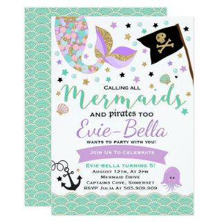 Convite do aniversário da sereia e do pirata