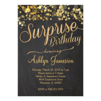 Convite do aniversário da surpresa do brilho da