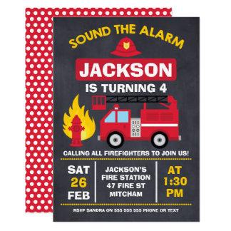 Convite do aniversário da viatura de incêndio ou