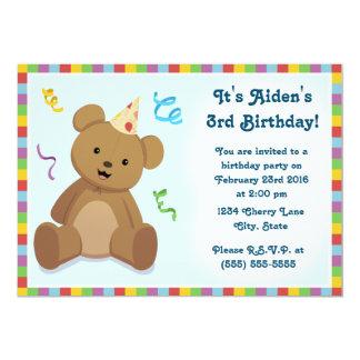 Convite do aniversário das crianças do urso de