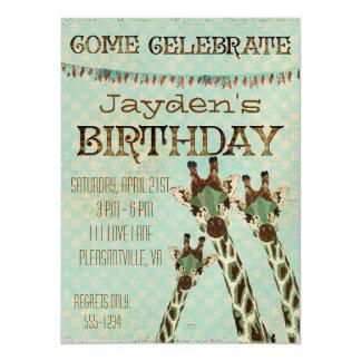 Convite do aniversário das estrelas dos girafas da