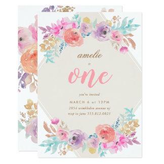Convite do aniversário das flores da aguarela da