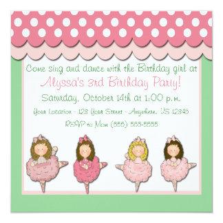 Convite do aniversário das meninas do balé