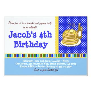 Convite do aniversário das panquecas e dos pijamas