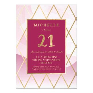 Convite do aniversário de 21 anos - ouro,