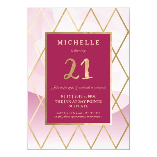 Convite Do Aniversário De 21 Anos Ouro Zazzlecombr