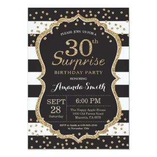 Convite do aniversário de 30 anos da surpresa.