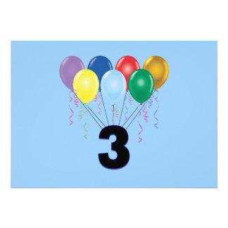 Convite do aniversário de 3 anos com balões