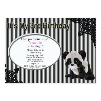 Convite do aniversário de 3 anos do urso de panda