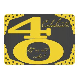 Convite do aniversário de 40 anos do amarelo e do