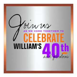 Convite do aniversário de 40 anos do homem
