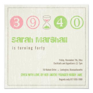 Convite do aniversário de 40 anos - personalize convite quadrado 13.35 x 13.35cm
