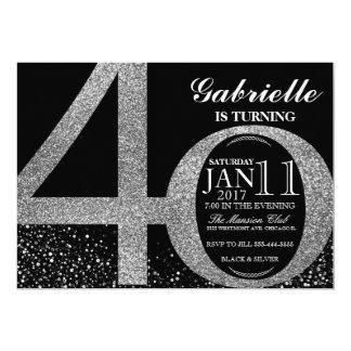 Convite do aniversário de 40 anos, preto e brilho