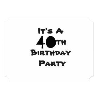 Convite do aniversário de 40 anos, texto preto