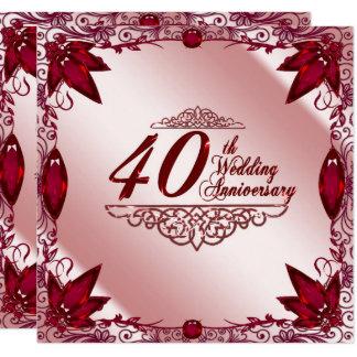 Convite do aniversário de casamento 5.25x5.25 do