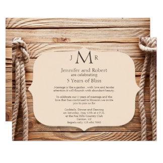 Convite do aniversário de casamento do nó de amor