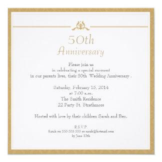 Convite do aniversário de casamento do ouro