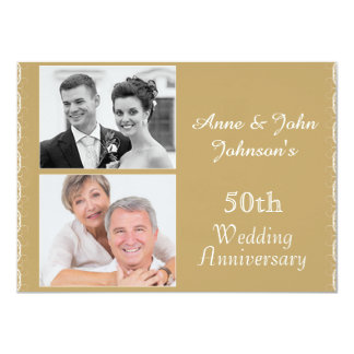 Convite do aniversário de casamento do ouro 50th