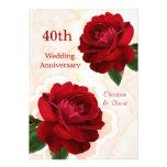 Convite do aniversário de casamento do rubi das ro
