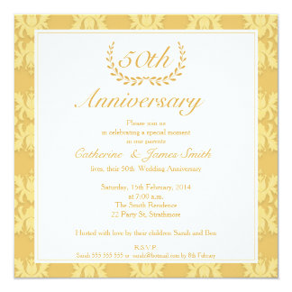 Convite do aniversário de casamento dourado do