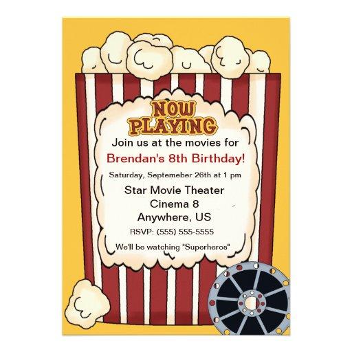 Convite do aniversário de criança da pipoca do fil