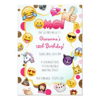 Convite do aniversário de Emoji - Emoji temático