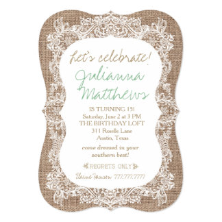 Convite do aniversário de serapilheira e de laço