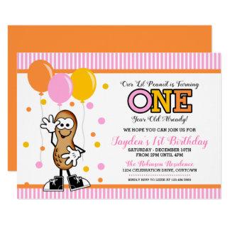 Convite do aniversário do amendoim UM de Lil