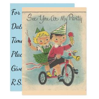 Convite do aniversário do andando de bicicleta