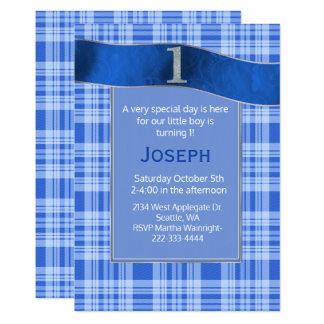 Convite do aniversário do bebé azul da xadrez