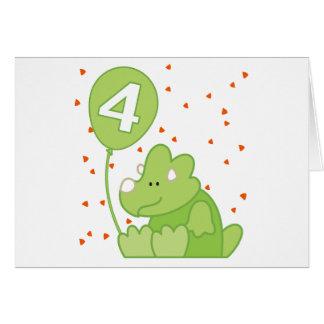 Convite do aniversário do bebê de Dino 4o Cartão De Nota
