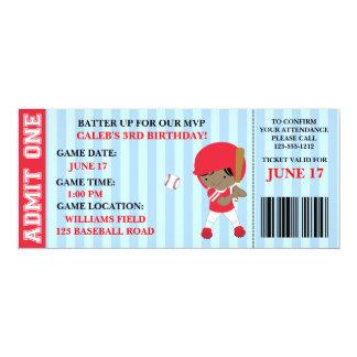 Convite do aniversário do bilhete do basebol
