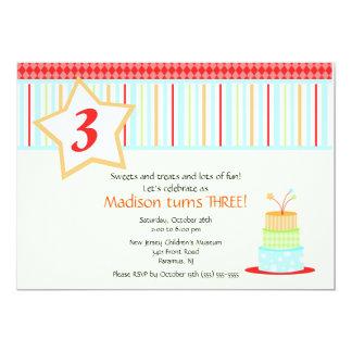 Convite do aniversário do bolo de aniversário do convite 12.7 x 17.78cm