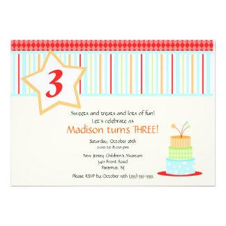 Convite do aniversário do bolo de aniversário do d