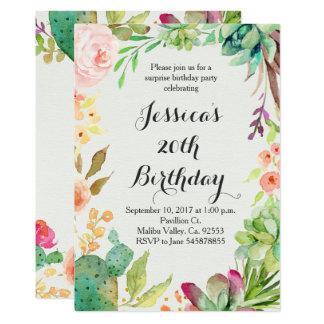 Convite do aniversário do cacto
