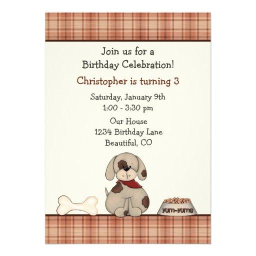 Convite do aniversário do cão de filhote de cachor