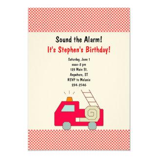 Convite do aniversário do carro de bombeiros