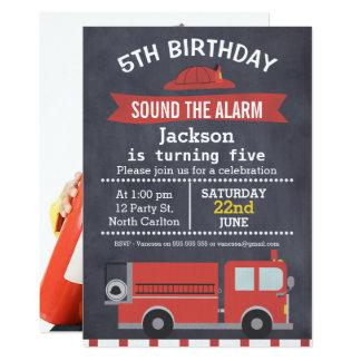 Convite do aniversário do carro de bombeiros da