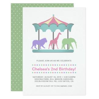 Convite do aniversário do carrossel do safari