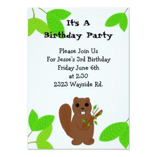 Convite do aniversário do castor dos desenhos