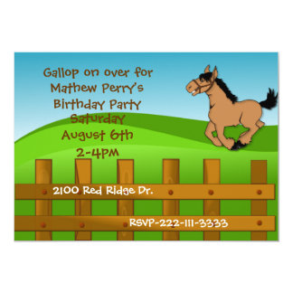 Convite do aniversário do cavalo dos desenhos convite 12.7 x 17.78cm