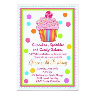 Convite do aniversário do cupcake dos doces da convite 12.7 x 17.78cm