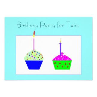 Convite do aniversário do cupcake dos gêmeos