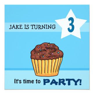 Convite do aniversário do cupcake dos meninos convite quadrado 13.35 x 13.35cm